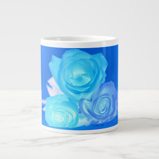 Three blue roses inverted picture 20 oz large ceramic coffee mug
