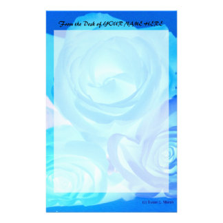 Three blue roses inverted picture stationery