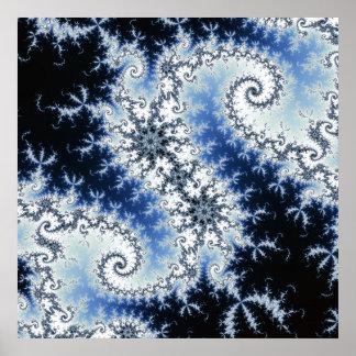 Three Blue Stars - fractal design Poster