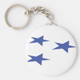 three blue stars icon keychain