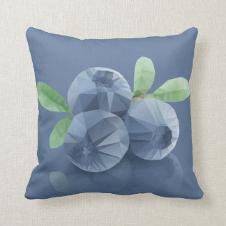 Three blueberries, in modern triangulated style throw pillow