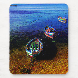 Three Boats on the Beach Mouse Pad