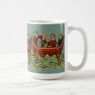 Three boats on the river classic white coffee mug