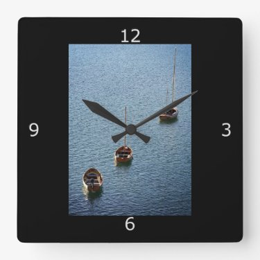 Three Boats on the Water Square Wallclocks