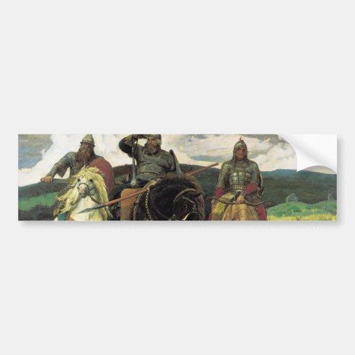 Three Bogatyrs (1898) by Viktor Vasnetsov Print Bumper Sticker