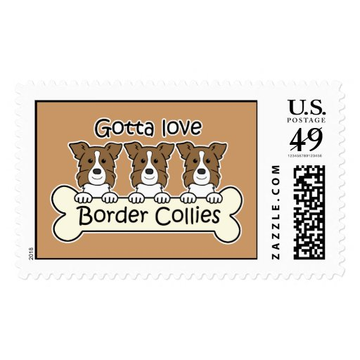 Three Border Collies Postage Stamp