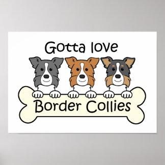 Three Border Collies Poster
