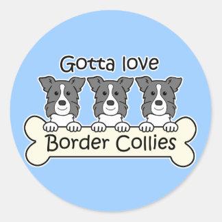 Three Border Collies Classic Round Sticker