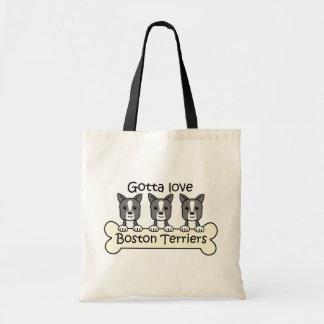 Three Boston Terriers Tote Bags