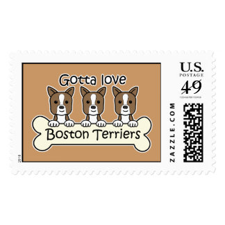 Three Boston Terriers Postage Stamps