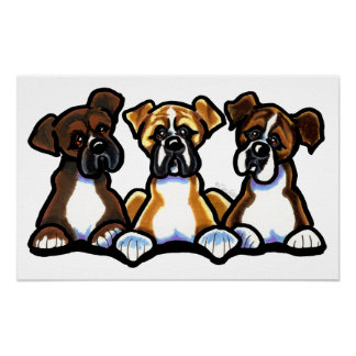 Three Boxers Poster