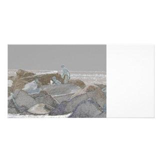 three boys jetty rocks sketch card