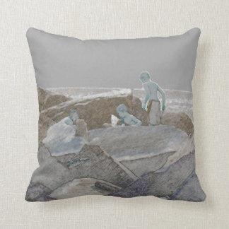three boys jetty rocks sketch throw pillow