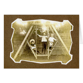 Three Boys On Swing Vintage Notecard Card
