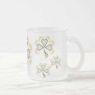 Three Bright Shamrocks 10 Oz Frosted Glass Coffee Mug