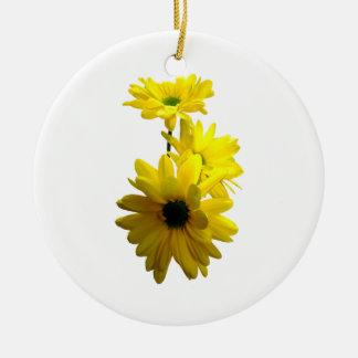 Three Bright Yellow Daisies Ceramic Ornament