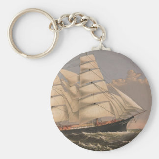 Three Brothers Ship Basic Round Button Keychain
