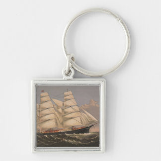 Three Brothers Ship Silver-Colored Square Keychain