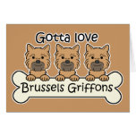Three Brussels Griffons Stationery Note Card