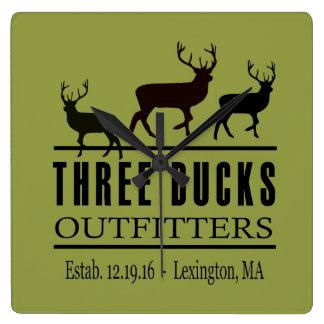 Three Bucks Outfitters Wall Clock