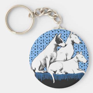 Three Bull Terriers Keychain