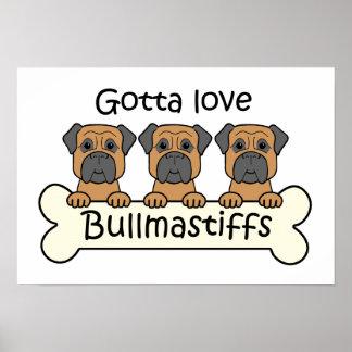 Three Bullmastiffs Poster