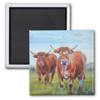 Three  Bulls Painting 2 Inch Square Magnet