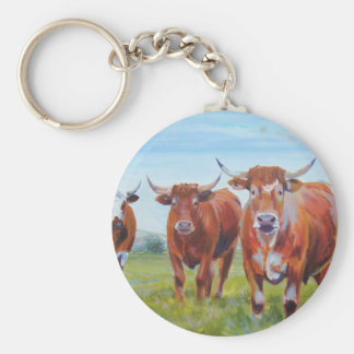 Three  Bulls Painting Basic Round Button Keychain