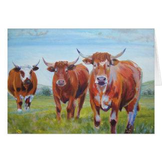 Three  Bulls Painting Card