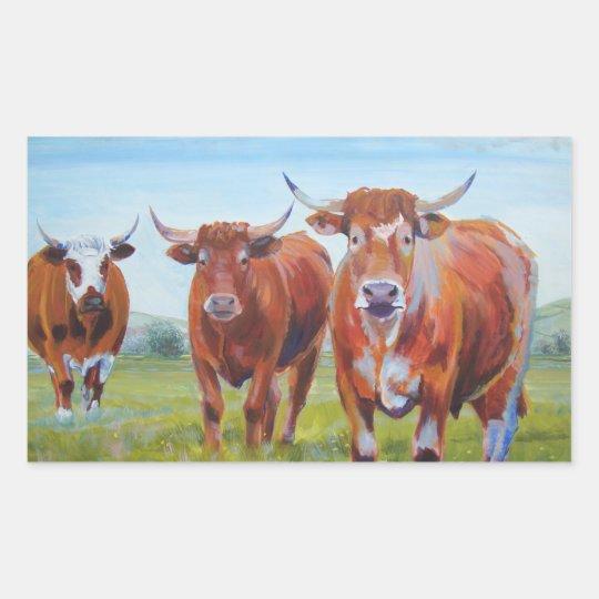 Three  Bulls Painting Rectangular Sticker