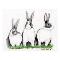 """Three Bunnies"" Animal Art Postacard Postcard"