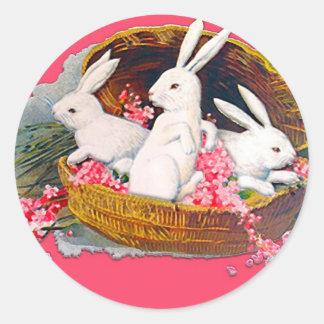 Three bunnies in a basket Stickers