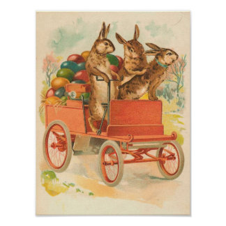 Three Bunnies With Eggs Vintage Easter Poster