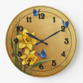 Three Butterflies and Daffodils Wallclock