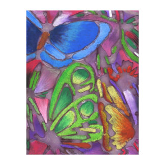 Three Butterflies Chalk and Glue Art Wrapped Canva Canvas Print