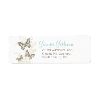 Three butterflies graphic wedding reply labels