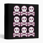 Three By Three Pink Kawaii Skulls Binder