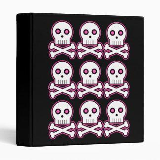 Three By Three Pink Kawaii Skulls Binder