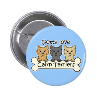 Three Cairn Terriers Button