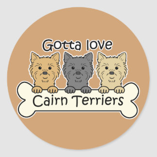 Three Cairn Terriers Classic Round Sticker