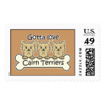 Three Cairn Terriers Postage Stamps