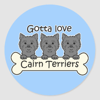 Three Cairn Terriers Round Sticker