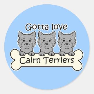 Three Cairn Terriers Round Stickers