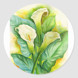 Three Cala Lilies Painting - Multi Classic Round Sticker