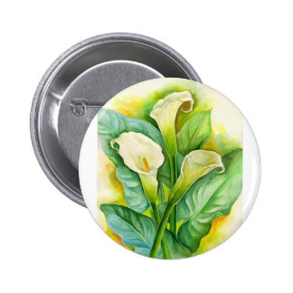 Three Cala Lilies Painting - Multi Pinback Button