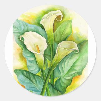 Three Cala Lilies Painting - Multi Classic Round Sticker