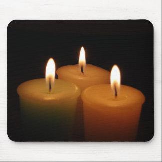 Three Candle Flames Dark Black Mousepad