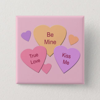 Three Candy Hearts Button