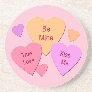 Three Candy Hearts Sandstone Coaster