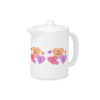 Three Candy Hearts Teapot